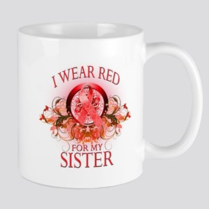 I Wear Red For My Sister (floral) Mug